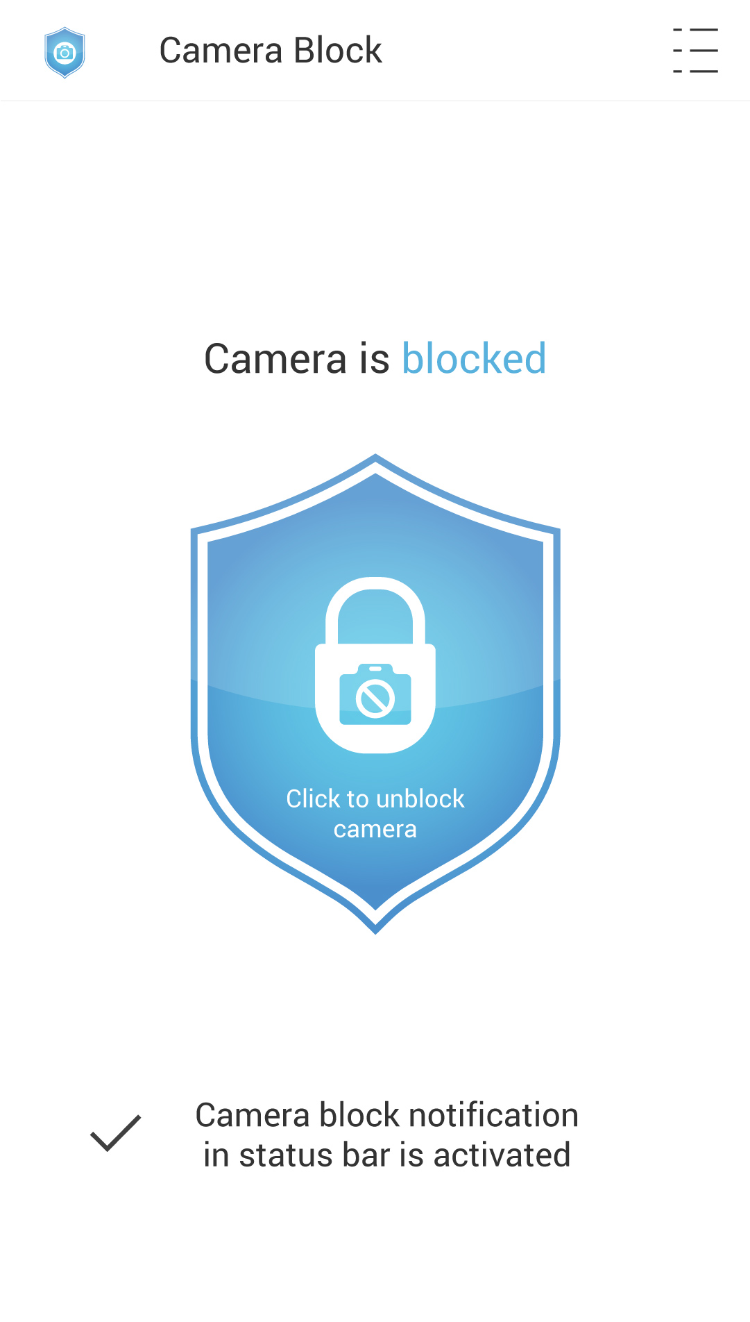 Camera Block Unblock Screen