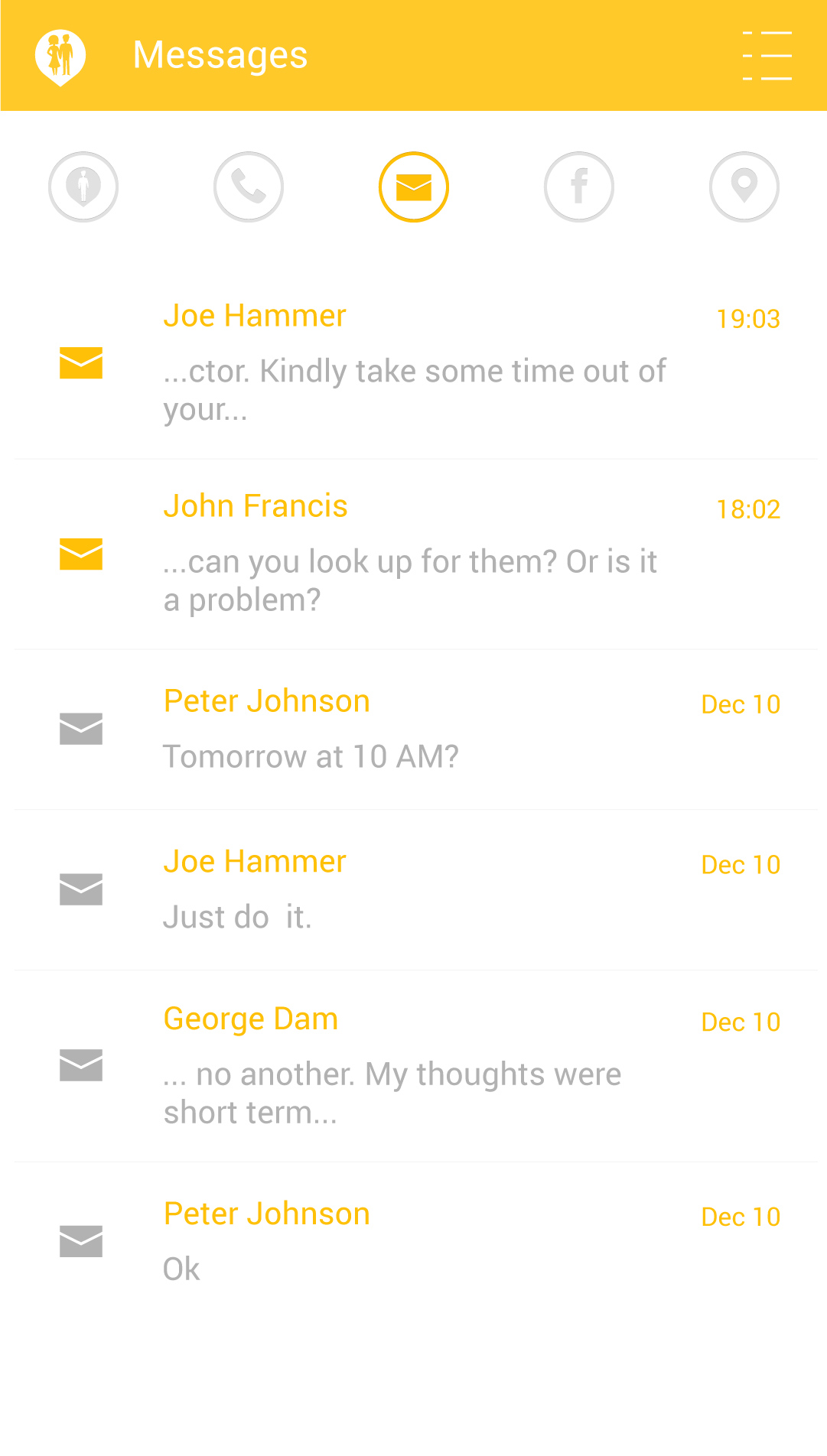 Screen with outgoing and incoming messages