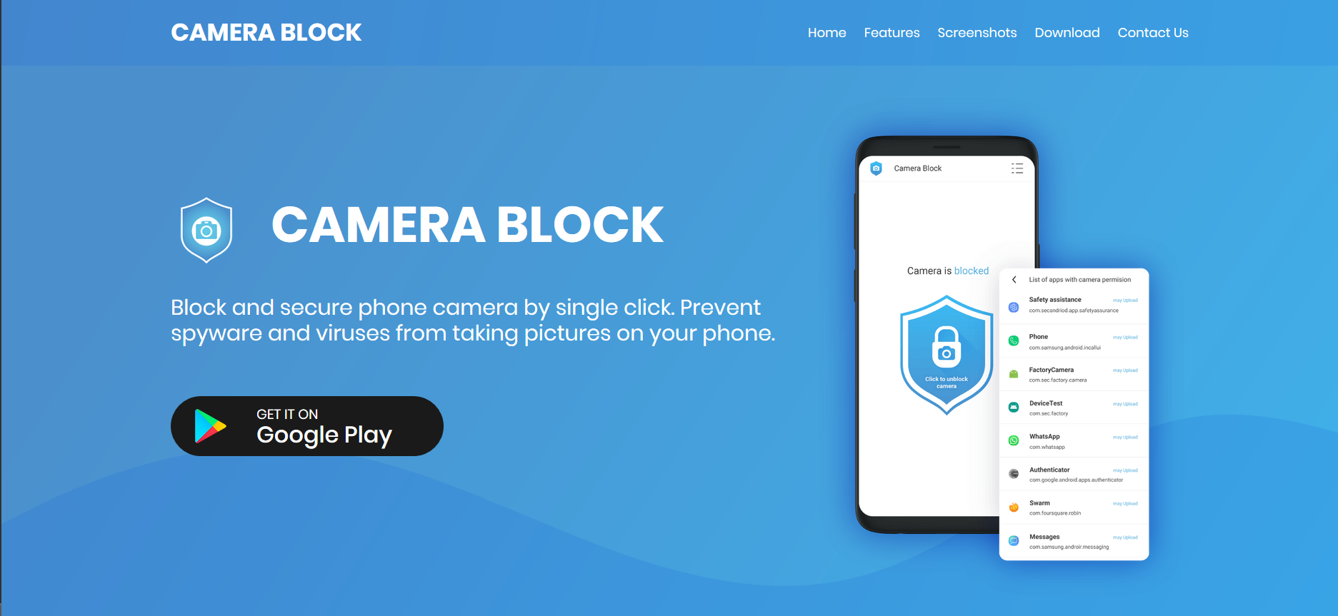 Camera Block – Block, disable and secure android camera